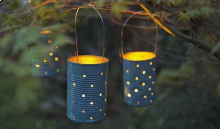 diy tin can garden lanterns