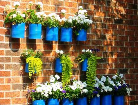 Garden Decor with Tin Planters