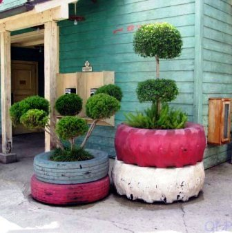 Garden Decor with Tire Planters