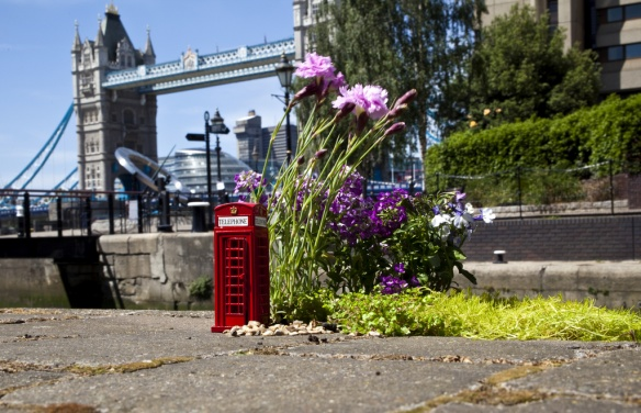 Miniature London Phone Box & Garden