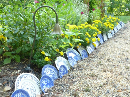 Garden Border With China Plates